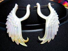 Angel Seraphim wing earrings Mother of Pearl by RogueBodyJewelry, $32.00 <--- <3
