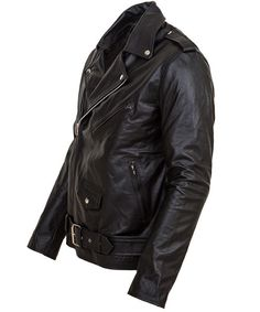 Mens Black Biker Leather Jacket-Terminator