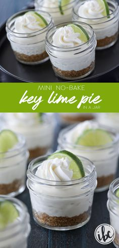 This recipe for Mini No-Bake Key Lime Pie in a Jar is summer dessert perfect! #keylime #pie #dessert #recipe #masonjar #lime via @inspiredbycharm