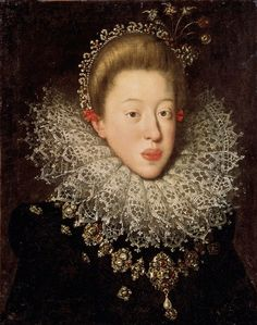 Portrait of Archduchess Maria of Tyrol (1584-1649) by Hans von Aachen, 1604 (PD-art/old), Lviv National Art Gallery, from the collection of Sigismund III Vasa; the archduchess togehter with her younger sister Anna, was a candidate to marry the king of Poland after death of his first wife Anna of Austria