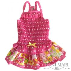 Tonimari Dress I Love Flowers Hot Pink Yellow