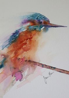 Dogs in Art at the StockBridge Gallery -    Kingfisher Blue -  Watercolour by Jean Haines, SOLD We may have another kingfisher available later in the show.  Please email if you would like us to notify you. (http://www.dogsinart.com/kingfisher-blue-watercolour-by-jean-haines/)