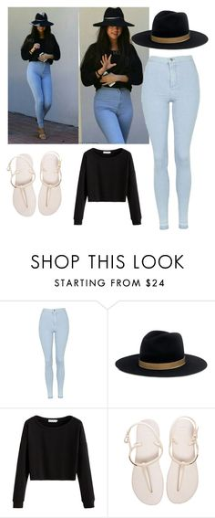 """""""Styling Selena"""" by sequiagomez ❤ liked on Polyvore featuring Topshop, Janessa Leone and Havaianas"""