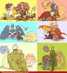 I like how seemingly at least Hulk has the cute Pokemon...