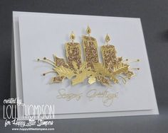 Die-cut the candles twice, once in gold foil paper and once in gold glimmer paper and inlay the pieces. The sentiment is stamped in Versamark and heat embossed in gold.