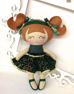 St Patrick's Day Handmade Dolls St Patty's by SewManyPretties, $45.00