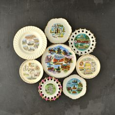 Vintage State Plates - #Travel #Souvenirs - Kitsch Plate - Instant Collection - Wall Art - Set of 8
