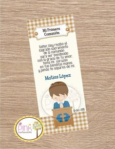 First Communion Favor Cards/  Bookmark / Baptism Boy / Recuerdo de Primera Comunion Niño