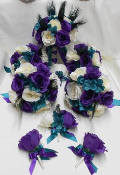 Wedding Silk Flower Bridal Bouquets Package Peacock by BellinaBlue, $229.00