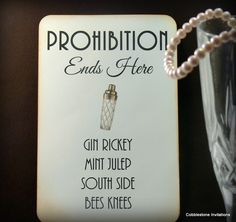 1920s signature drinks Great Gatsby Wedding by CobblestoneInvites, $4.50