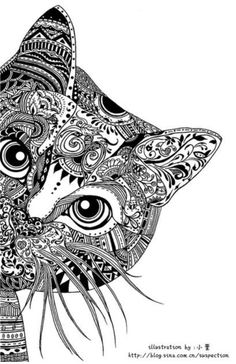 Peek-A-Boo cat cat mandala, mandala sketch, mandala tattoo, zentangle anima Art Drawings, Drawings, Doodle Art, Cat Art, Zentangle Animals, Colouring Pages, Zentangle, Art, Zentangle Art