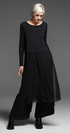 EILEEN FISHER: New arrivals: Black silk dress, wide-legged velvet pants and Chelsea bootie [a Look Fashion, Trendy Fashion, Winter Fashion, Womens Fashion, Trendy Style, Fashion Boots, Fashion 2015, Dress Fashion, Fashion Clothes