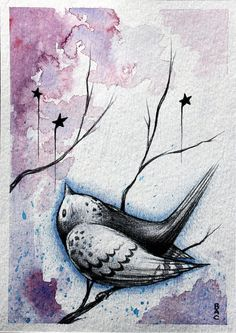 Little Bird ORIGINAL 5x7 mixed media illustration by Bryan A. Collins, $35.00