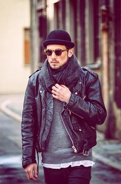 Black Leather Jacket, Modern Bowler Hat, Huge Scarf, and Dark Fitted Jeans. Men's Fall winter Street Style Fashion.