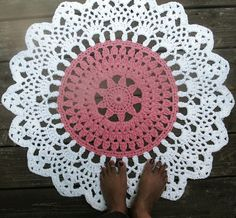 Rose Pink and White Crochet Doily Cotton Rug in 30 Circle Lacy Pattern Non Skid via Etsy