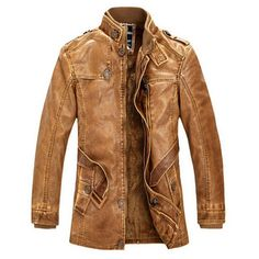 Slim Warm Mens Leather Jacket - All In One Place With Us - 1