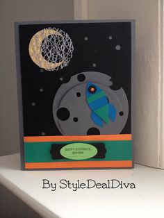 Rocket Happy Birthday Card by StyleDealDiva on Etsy, $4.00 using Stampin' Up!'s Blossom Petal Builder Punch for the spaceship