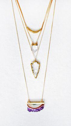 Amethyst Druzy Elongated Slice Necklace | Kei Jewelry