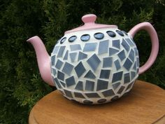 Mosaic Teapot Pink Gray Black by Halvorsons on Etsy, $35.00