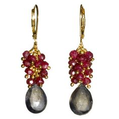 Margaret Elizabeth, ruby & iolite cluster earrings