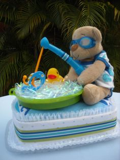 Fishing Teddy Diaper Cake by on Etsy Diaper Shower, Baby Shower Diapers, Baby Shower Fun, Baby Shower Cakes, Baby Shower Parties, Baby Shower Themes, Baby Shower Gifts, Baby Gifts, Shower Ideas