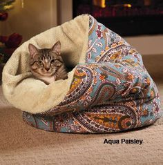 Berber Cove - looks cozy and love the aqua pattern Cat Room, Cat Accessories, Cat Crafts, Cat Supplies, Cat Furniture, Pet Beds, Diy Stuffed Animals, Crazy Cats, Animals And Pets