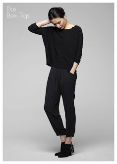 eileen fisher, box top + slouchy pants