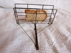 Antique French wire rustic bread toaster fireplace tool farmhouse wirework 1800s tool, French country cottage kitchen decor rare kitchenware