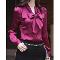 $17- Korea Women Long Sleeve Bowknot Vintage Shirts Bowtie OL Tops BlouseVintage Blouses | RoseGal.com