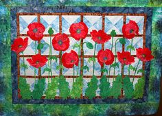 Poppy quilt at Happy Days Quilting. Adapted from Flower Show Quilts by Lyn Ann Majidimehr. Machine Applique, Machine Quilting, Flower Quilts, Applique Templates, Remembrance Day, Sewing Patterns For Kids, Sewing Appliques, Flower Show, Applique Quilts