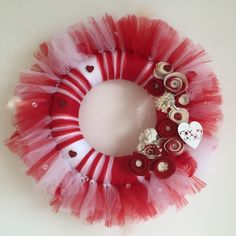 Tulle wreath. Great for the special one. It is made out of tulle and handmade felt flowers. Need different colors? Just ask.