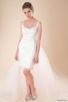 Lola sleeveless short wedding dress with detachable tulle train.