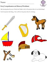 David and Goliath Story Comprehension and Memory Worksheets - picture version