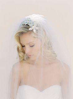 Wedding Veil with Embellished Bridal Comb  we ❤ this!  moncheribridals.com   #weddingveil #bridalheadpiece #weddingheadpiece