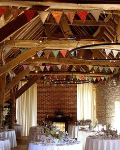 rustic reception~make your own pennants to match