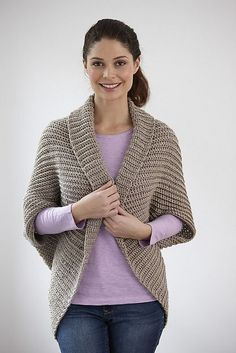 I had to share this pattern, because it's easy, and I really like how the Shrug turns out! Canyon Shrug by Lion Brand Yarn - via Ravelry. This pattern is available for free.