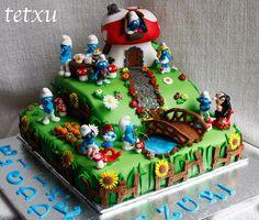 Los pitufos Fondant Cakes, Cupcake Cakes, Fiesta Cake, Sweet Cakes, Custom Cakes, Themed Cakes, Party Cakes, Beautiful Cakes, Good Food