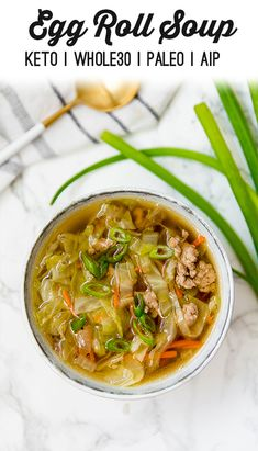 Paleo Egg Roll Soup (Keto, This paleo & keto egg roll soup is a nourishing a delicious cold-weather dish that features all of the flavors of an egg roll without the wrapper! It's AIP, and compliant. Soup Recipes, Keto Recipes, Healthy Recipes, Keto Foods, Recipes Dinner, Free Recipes, Gluten Free Bagels, Snacks Under 100 Calories, Appetizers
