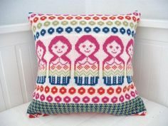 Dolly Mix Fairisle Knitted Cushion Pillow Bright shades. $90.00, via Etsy.