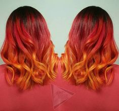 Fire Ombre Hair, Ombre Curly Hair, Fire Hair, Curly Hair Styles, Orange Ombre Hair, Brown Ombre Hair, Ombre Hair Color, Cheveux Oranges, Short Red Hair