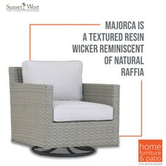 Sunset West Majorca Swivel Club Chair with Cast Silver Cushion Home Furniture, Furniture Design, Sunset West, Swivel Club Chairs, Silver Cushions, Outdoor Chairs, Outdoor Decor, Majorca, Wicker