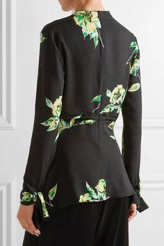 Proenza Schouler - Knotted Floral-print Silk-crepe Blouse - Black - US10