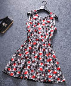 Fashion geometric jacquard sleeveless dress