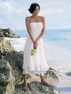 Column Embroidery Spaghetti Strap Chiffon White Beaching Wedding Dresses
