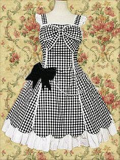 Black Lace Bow Sleeveless Classic Lolita Dress on www.ueelly.com
