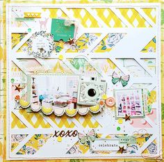 scrapbook layout by Kelly with Crate Paper Carousel and cut-file by Just Nick
