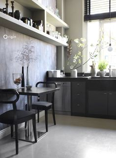 Kitchen with luxury wallpaper with taupe leaf design   collection Identity   Origin - luxury wallcoverings