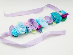 Queen Elsa Inspired Crown Felt Flower Blue & by VictoriasClass