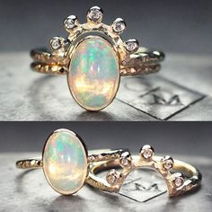 Custom opal ring set. chincharmaloney.com