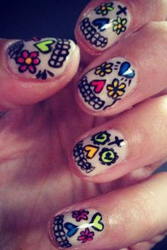 I Would do just a sugar skull on the thumb. Then the rest a pretty pastel color. Or maybe something neon.